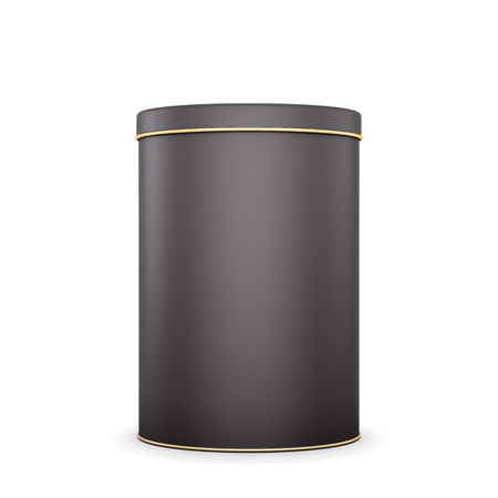 container box: Black metal tin with place for your text. Package for design. Tea,coffee,dry products. 3d illustration.