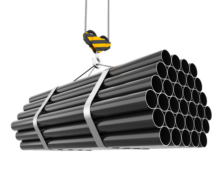 Crane hook lifting of steel pipes isolated on white background. 3d illustration.