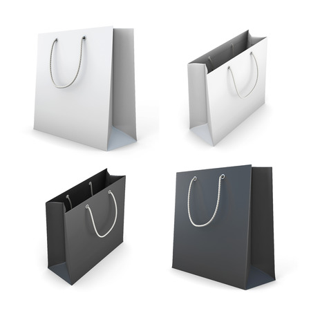 Set of bags isolated on white background 3d render image. Фото со стока