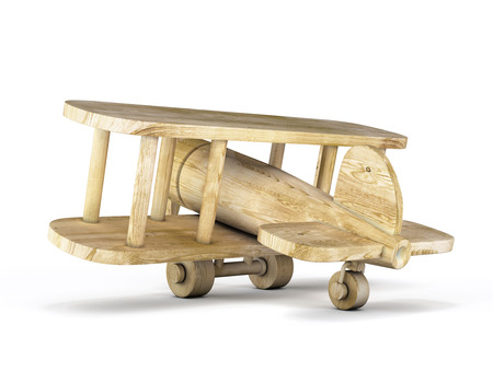 Wooden plane isolated on white background. 3d illustration. illustration