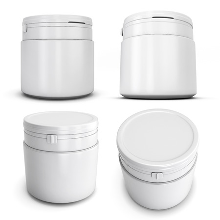 fastener: Set of template white plastic can for products. Plastic can with a fastener. White blank can for your design. 3d render image.