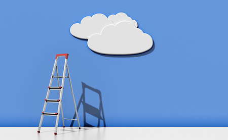 stepladder: Step-ladder against a blue wall with a cloud. Abstract illustration concept. 3d render image. Stock Photo