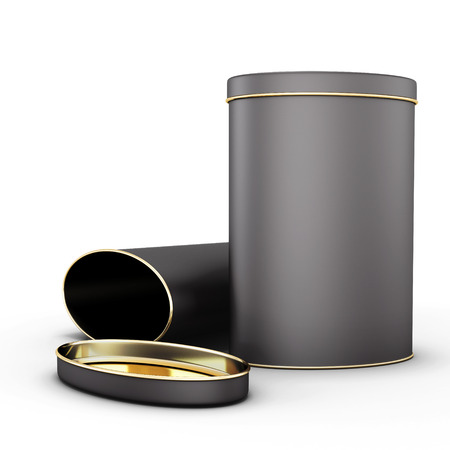 Two black metal tin with place isolated on white background. 3d render image.