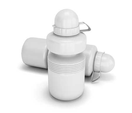 collapsible: Two white collapsible sport water bottle close-up. 3d illustration. Stock Photo