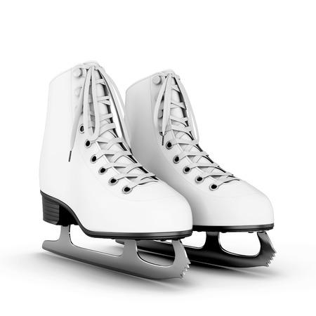 patinaje sobre hielo: Figura patines aisladas sobre fondo blanco. 3d ilustración. Foto de archivo