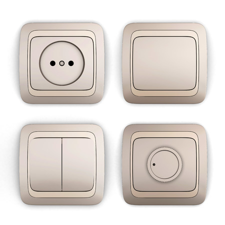 sockets: Set of switches and sockets on a white background. 3d illustration. Stock Photo