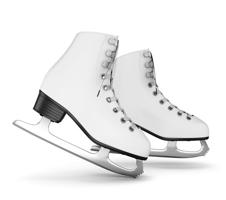 Figure skates isolate on white background. 3d illustration.