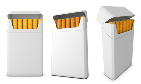 Template pack of cigarettes from different angles isolated on white background. 3d illustration. illustration