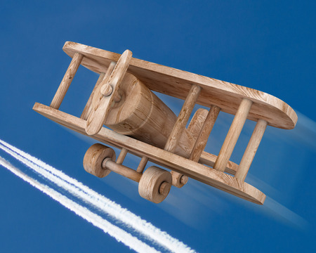 Wooden plane on a sky. 3d render image. photo