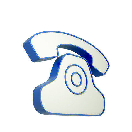 antiquated: 3d phone icon isolated on white background. 3d illustration. Stock Photo