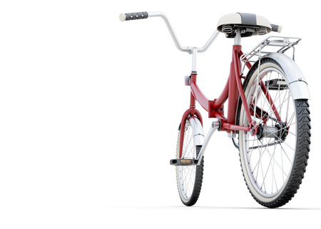 beach cruiser: Bicycle on a white back angle view with space for your design 3d illustration. Stock Photo
