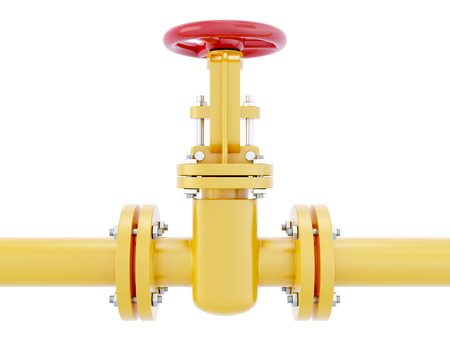 stop gate valve: Gas pipeline with red valve isolated on white background. 3d render image.