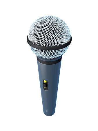 scenical: Microphone close-up isolated on white background. 3d illustration.