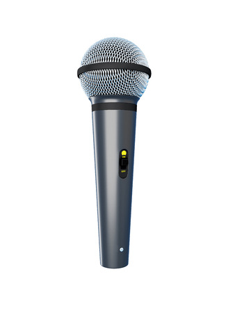 scenical: Microphone isolated on white background. 3d render image. Stock Photo