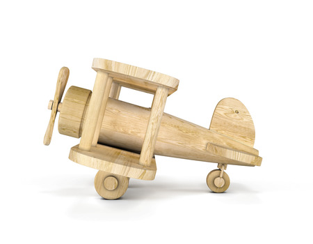 Wooden airplane model isolated over white background. Concept air plane. 3d illustration.