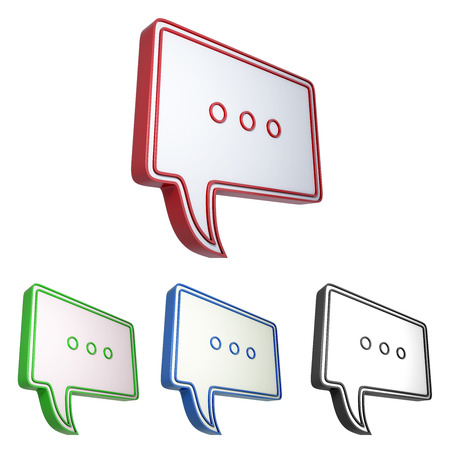 three dots: Speech bubble with three dots symbol isolated on white background. 3d chat sign icon. Stock Photo