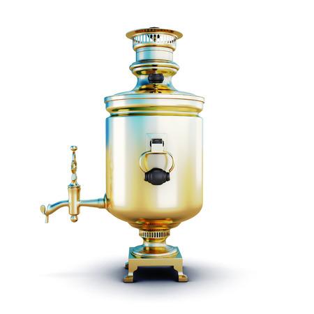 samovar: Russian samovar isolated on white background. 3d illustration.