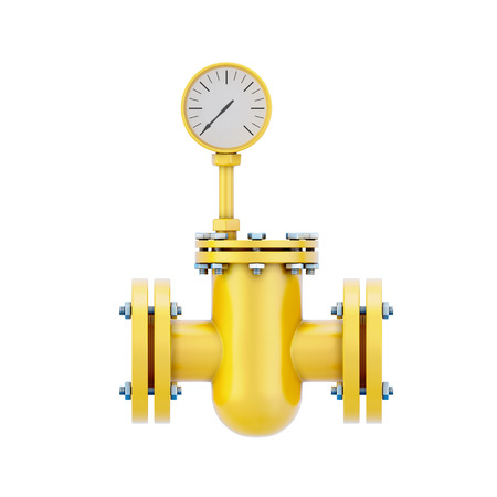 manometer: Part of a gas pipe with the manometer isolated on white background. 3d illustration.
