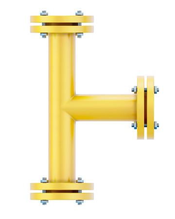 flange: T-branch isolated on white background. gas pipeline. 3d illustration. Stock Photo