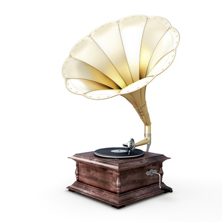 3D illustration of gramophone isolated on white background. illustration