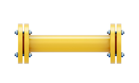 portion: 3d pipeline gas. Direct connection portion of the gas pipe. 3d illustration.