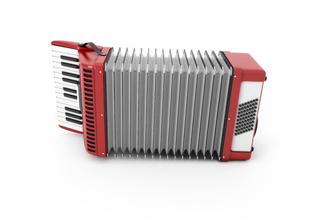 concertina: 3d Accordion isolated on white background. Stock Photo