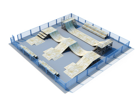 don: 3d Skatepark nobody isolate don white background. 3d illustration.