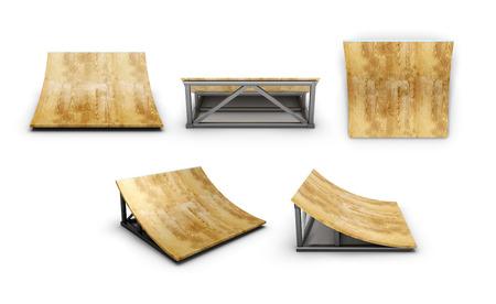 Kleine versnelling voor het skatepark met verschillende hoeken op een witte achtergrond. 3D-afbeelding. Stockfoto