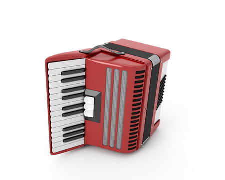 concertina: Accordion on a white background. 3d render image.