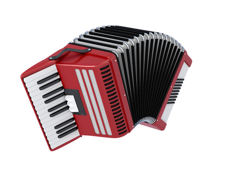 keyboard instrument: Bayan isolated on white background. Accordion illustration. 3d render image.