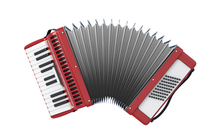 Accordion. Bayan isolated on white background. 3d illustration.