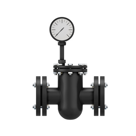 manometer: Black part of a pipeline with the manometer isolated on white background. 3d illustration.