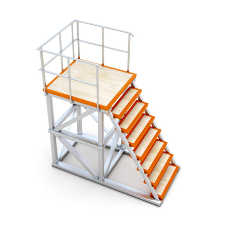 backflip: Stairways to access the ramp. Collection elements of skate parks. 3d illustration.