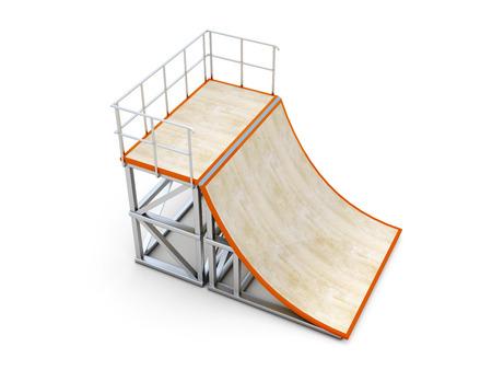 casing: Half ramp. Element of skate parks. 3d render image.