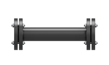 portion: Direct connection portion of the black pipe isolated on white background. 3d illustration.