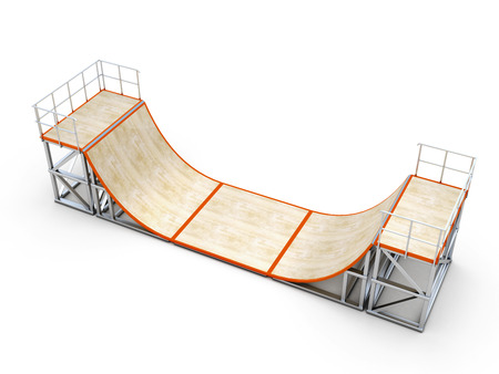 ramp: Ramp direct site isolated on white background. Element of skate parks. 3d illustration.