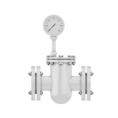 Part of a pipeline with the manometer isolated on white background. Pipe element for design of the pipeline. 3d illustration. illustration