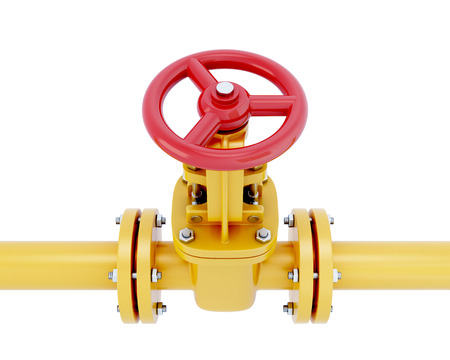 Gas pipeline element close-up with the valve isolated on white background. 3d illustration. Stock Photo