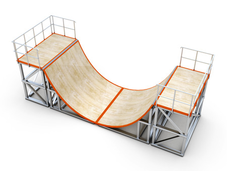 Ramps isolated on white background. Element of skate parks. 3d illustration. Stock Photo