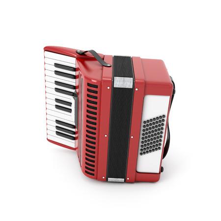 isolated illustartion: Retro accordion isolated on white background. 3d illustartion. Stock Photo