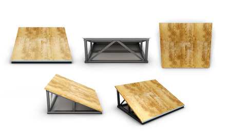 ramp: Springboard small for skate parks with different angles isolated on white background. 3d illustration.