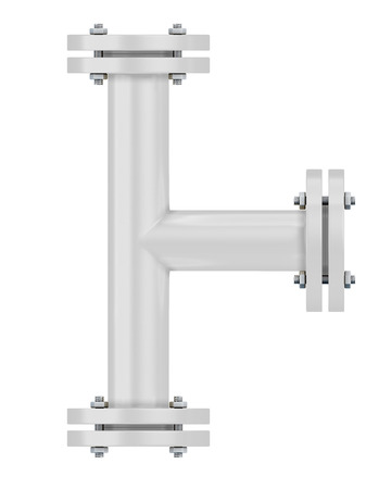 copper pipe: White T-branch gas pipeline element close-up on a white. 3d illustration.
