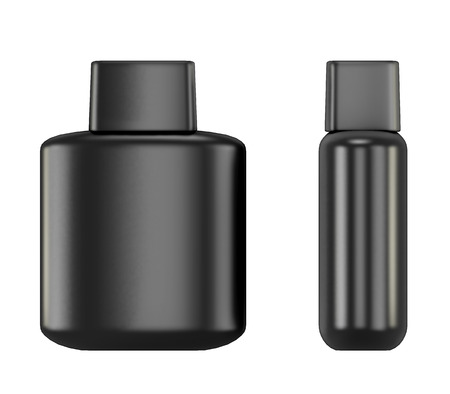 aftershave: Black bottle with Aftershave isolated on white background. 3d illustration.