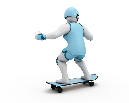 little skate: 3D Illustration of a man Skateboarding isolated on white background.