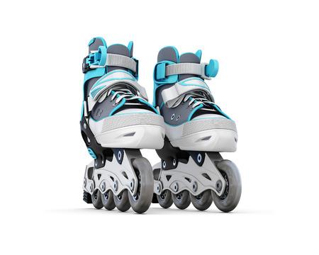 rollerskate: Roller skate close-up isolated on white background. 3d illustration.