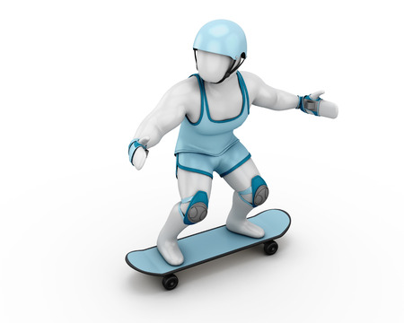 riot: White man of skateboard with riot gear on a white background. 3d illustration. Stock Photo
