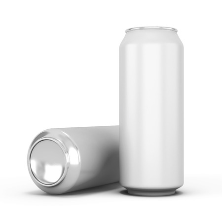 Two aluminum can for beer clipping path for your design. 3d illustration. illustration