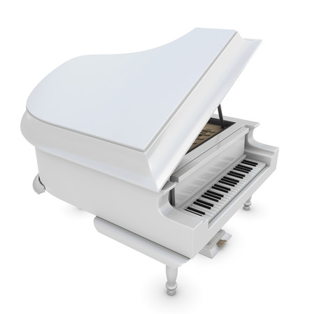 acoustically: White grand piano on a white background. 3d render image.