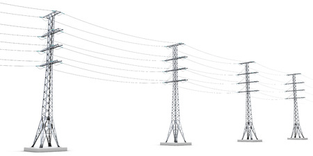 powerline: Power lines isolated on white background. 3d render image.
