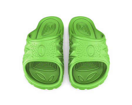 flipflop: Green beach sandals isolated on white background. 3d illustration. Stock Photo